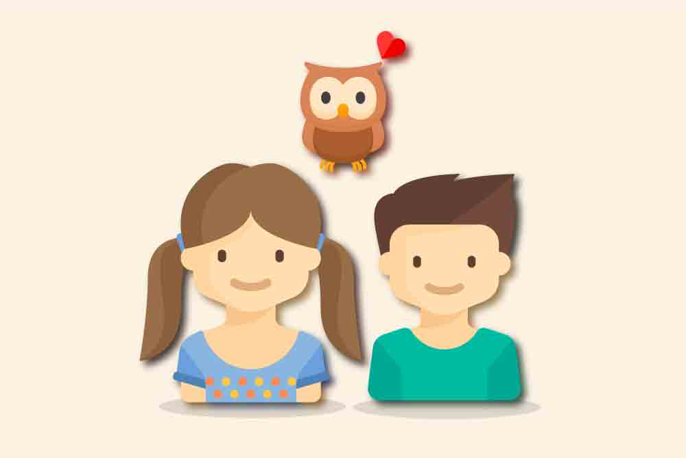 子供とフクロウのイラスト